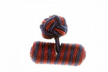 Navy Blue & Claret Deep Red Barrel Silk Cuffknots - 1