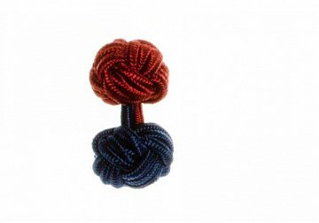 Navy Blue & Claret Deep Red Different Colour Ends Silk Cuffknots - 1