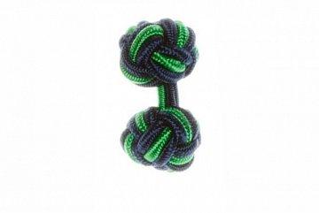Navy Blue & Emerald Green Cuffknots Silk Knot - 1