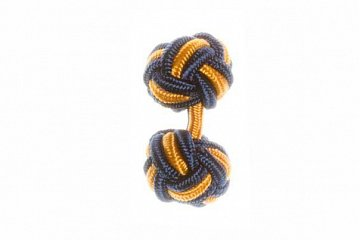 Navy Blue & Gold Silk Cuffknots - 1