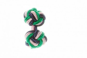 Navy Blue, Green & Pink Silk Cuffknots - 1
