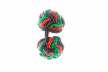 Navy Blue, Green & Red Silk Cuffknots - 1