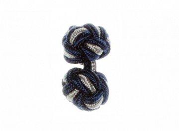 Navy Blue & Grey Cuffknots Silk Knot - 1