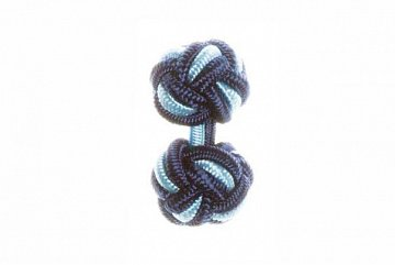 Navy Blue & Light Blue Silk Cuffknots - 1