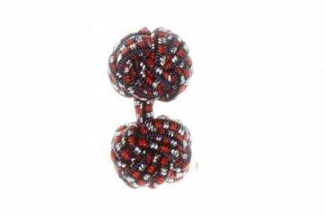 Navy Blue & Red Cuffknots Silk Cuffknots - 1