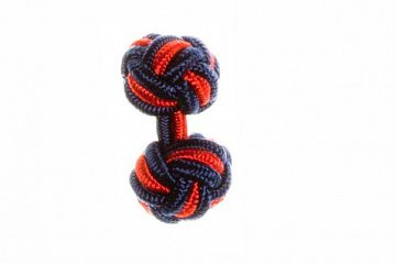 Navy Blue & Red Silk Cuffknots - 1