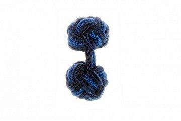 Navy Blue & Royal Blue Cuffknots Silk Knot Cufflinks - 1