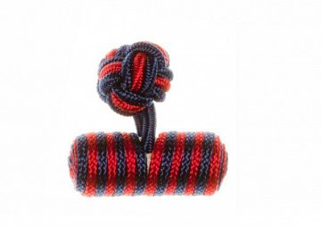 Navy Blue & Ruby Red Barrel Silk Cuffknots - 1