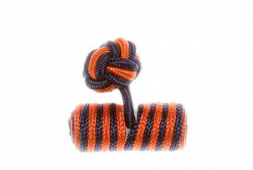 Navy Blue & Tango Orange Barrel Silk Cuffknots - 1