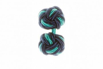 Navy Blue & Turquoise Silk Cuffknots - 1