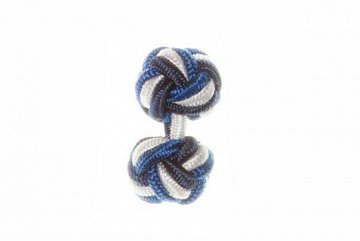 Navy Blue, White & Royal Blue Silk Cuffknots - 1