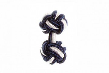 Navy Blue & White Silk Cuffknots - 1
