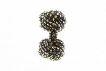 Navy Blue & Yellow Silk Cuffknots - 1