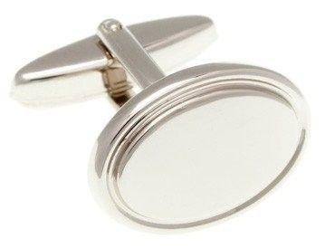 Oválné manžetové knoflíčky ve stříbrné barvě s lemem po obvodu  - 1
