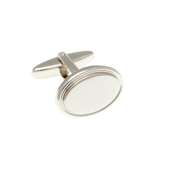 Oválné manžetové knoflíčky ve stříbrné barvě s lemem po obvodu  - 2