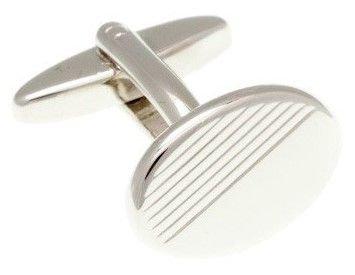 Oválné stříbrné manžetové knoflíčky s gravírovanými pruhy - 1