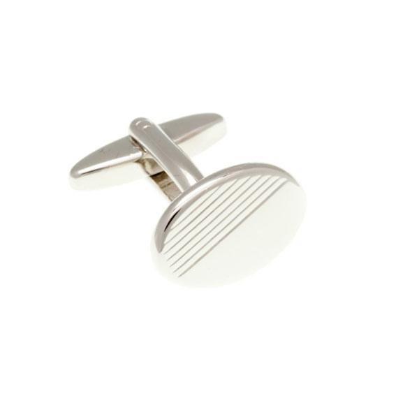 Oválné stříbrné manžetové knoflíčky s gravírovanými pruhy - 2