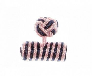 Pink & Navy Blue Barrel Silk Cuffknots - 1