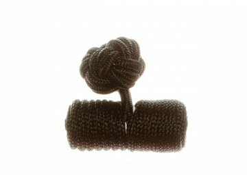 Plain Black Barrel Silk Cuffknots - 1