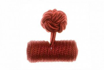 Plain Claret Deep Red Barrel Silk Cuffknots - 1