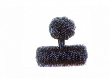 Plain Navy Blue Barrel Silk Cuffknots - 1