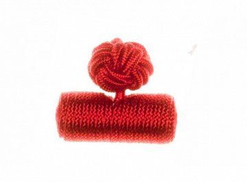Plain Ruby Red Barrel Cuffknots Silk Knot Cufflinks - 1