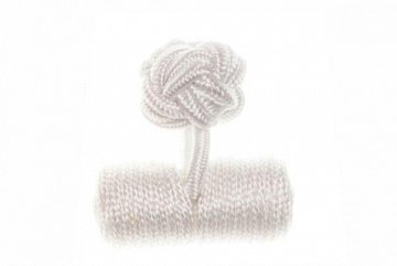 Plain White Barrel Silk Cuffknots - 1