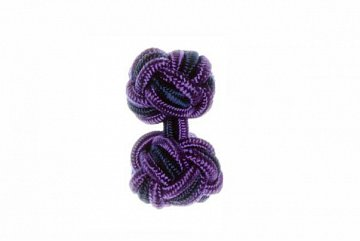 Purple and Navy Blue Silk Cuffknots - 1