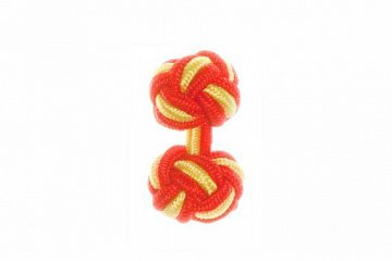 Red & Canary Yellow Silk Cuffknots - 1