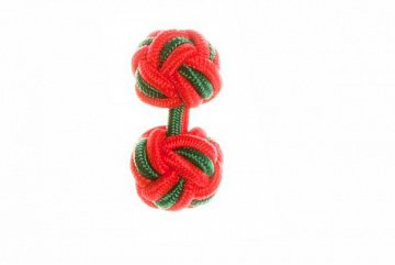Red & Green Silk Cuffknots - 1