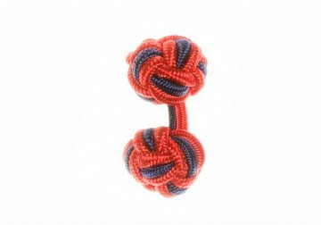 Red & Navy Blue Silk Cuffknots - 1