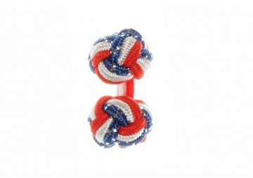 Red, White and Royal Blue Fleck British Flag Silk Cuffknots - 1