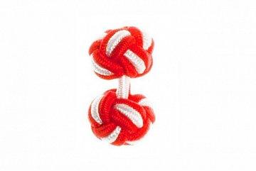 Red & White Silk Cuffknots - 1