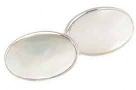 Řetízkové stříbrné manžetové knoflíčky s bílou oválnou přírodní perletí