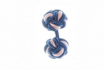 Royal Blue and Pink Silk Cuffknots - 1