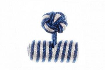 Royal Blue & White Barrel Silk Cuffknots - 1