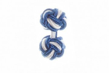 Royal Blue & White Cuffknots Silk Knot Cufflinks - 1