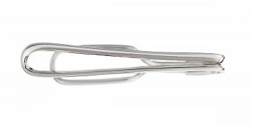 Ručně vyrobená spona na kravatu ve stříbrné barvě v délce 45mm - 1