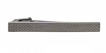 Šedá spona na kravatu s industriálním vzorem v délce 55 mm