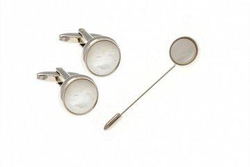 Set luxusních manžetových knoflíčků a špendlíku z přírodní bílé perleti - 1