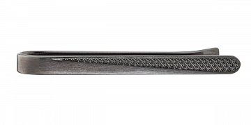 Spona na kravatu s gravírovaným vzorem ve matné šedé barvě - 1