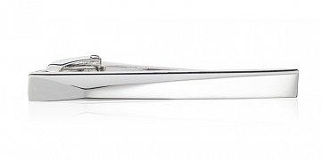 Stříbrná lesklá spona na kravatu s 3D efektem v délce 55 mm