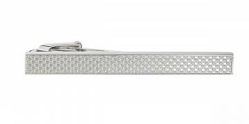 Stříbrná spona na kravatu s industriálním vzorem v délce 55 mm