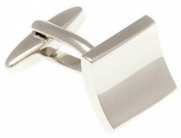 Stříbrné abstraktní manžetové knoflíčky ve tvaru prohnutého čtverce  - 1