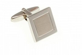 Stříbrné elegantní manžetové knoflíčky s lesklým rámečkem a matným čtverečkem uvnitř