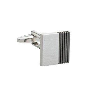 Stříbrné elegantní manžetové knoflíčky s šedými jemně vylaserovanými pruhy - 1