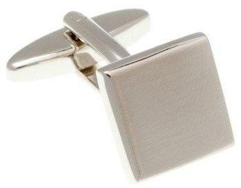 Stříbrné kovové manžetové knoflíčky lehce s broušeným efektem - 1