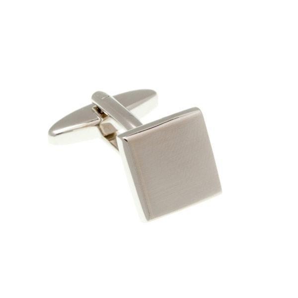 Stříbrné kovové manžetové knoflíčky lehce s broušeným efektem - 2