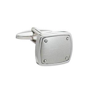 Stříbrné lehce broušené manžetové knoflíčky nýtované v industriálním designu - 1