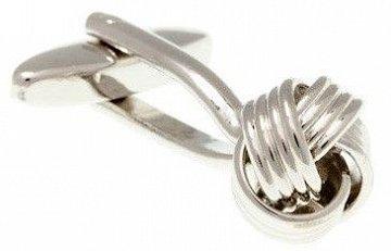 Stříbrné manžetové knoflíčky mistrně spletené ze čtyř kovových vláken do uzlíku - 1